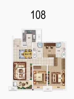 3室2厅2卫108m²